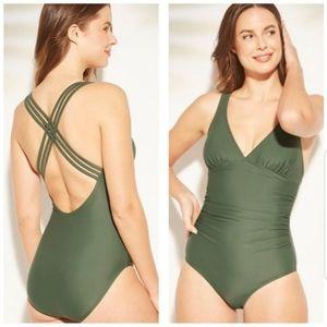 KONA SOL Strappy Olive Green One Piece Swimsuit